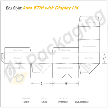 Custom Auto Bottom with Display Lid Packaging Boxes